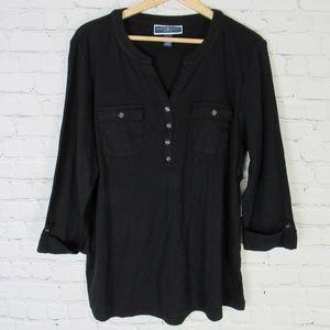 Karen Scott Shirt Top Womens 1X Black 2 Pocket